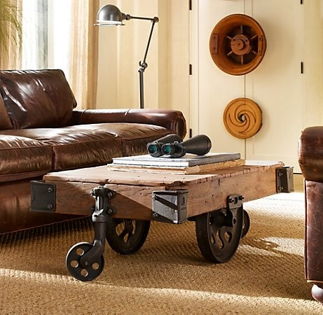 great repurposing: Coffe Tables, Ideas, Coffee Tables, Restoration Hardware, Living Room, Industrial Chic, Vintage Furniture, Industrial Style, Industrial Design