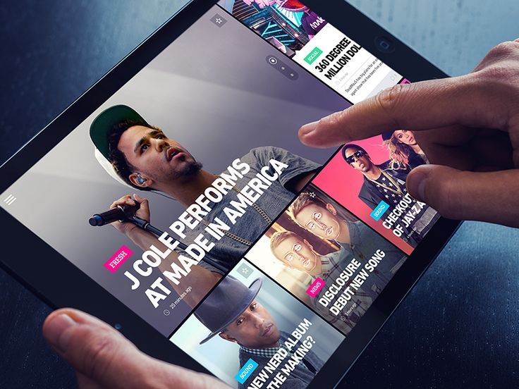 Article grid view on tablet
