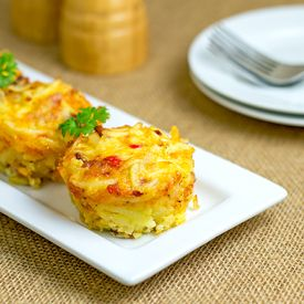 Bacon Hash Brown Muffins by themidnightbaker: Breakfast in a muffin.  #Muffins #Bacon #Hash_Brown #Eggs