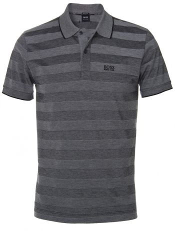 Hugo Boss Black Firenze Grey Striped Cotton Polo Shirt