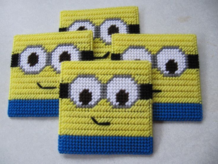 Plastic Canvas Minion Coasters by GiftsbyKris on Etsy https://www.etsy.com/listing/272331052/plastic-canvas-minion-coasters