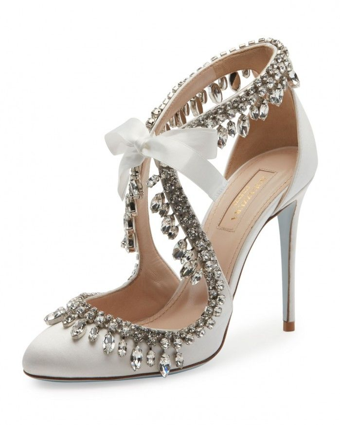 Aquazzura Stella Jeweled Bridal 105mm Pump, White | Buy ➜ https://shoespost.com/aquazzura-stella-jeweled-bridal-105mm-pump-white/