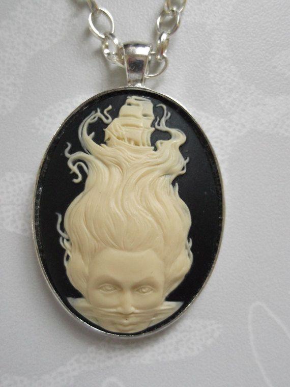 Goddess of the Sea Tattoo Flash Cameo Necklace. £10.00, via Etsy.