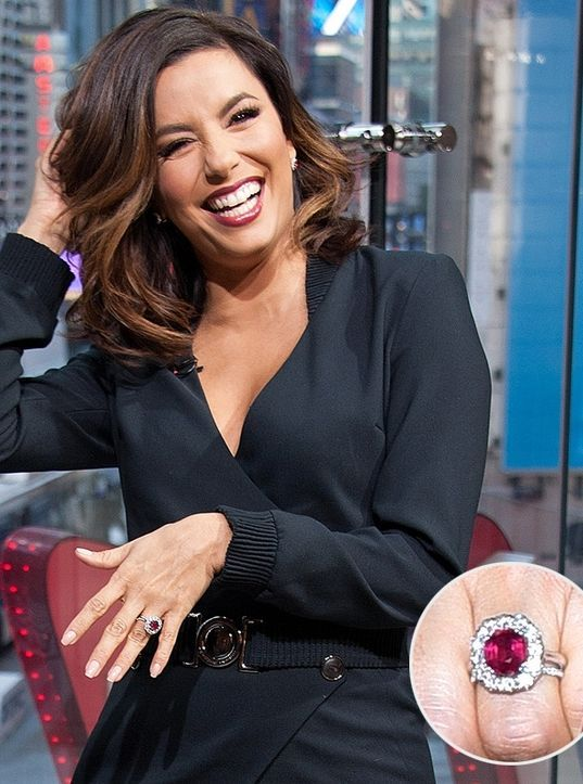 Eva Longoria's ruby-and-diamond engagement ring - Beautiful Celebrity Engagement Rings You Can't Miss | People