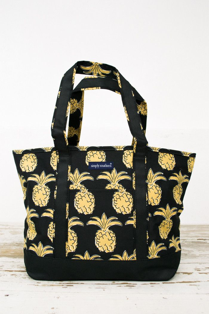"LuLu Pineapple Boat Bag is a beach or lake bag for sailing & boating. Perfect to add those sunglasses and towel. Has a little pocket in the front for all those small necessities. Measurements: 12"" W X"