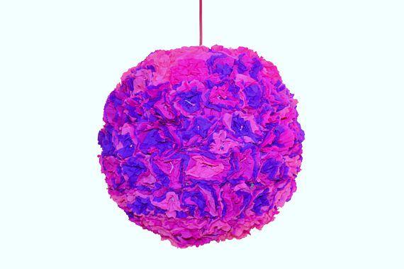 Pink purple paper lamp. Girls room lamp. Globe lighting