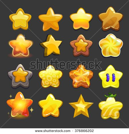 stock-vector-cartoon-vector-star-icons-set-cool-game-assets-collection-for-gui-design-376866202.jpg (450×470)
