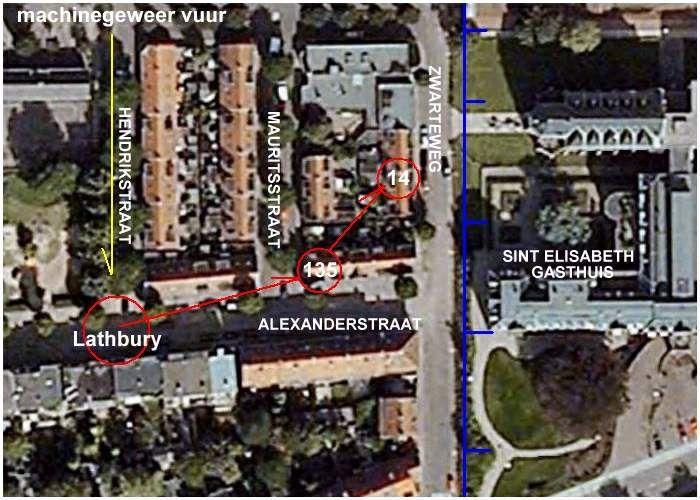 De route van Urquart en de locatie waar Lathbury getroffen werd (Google Earth)