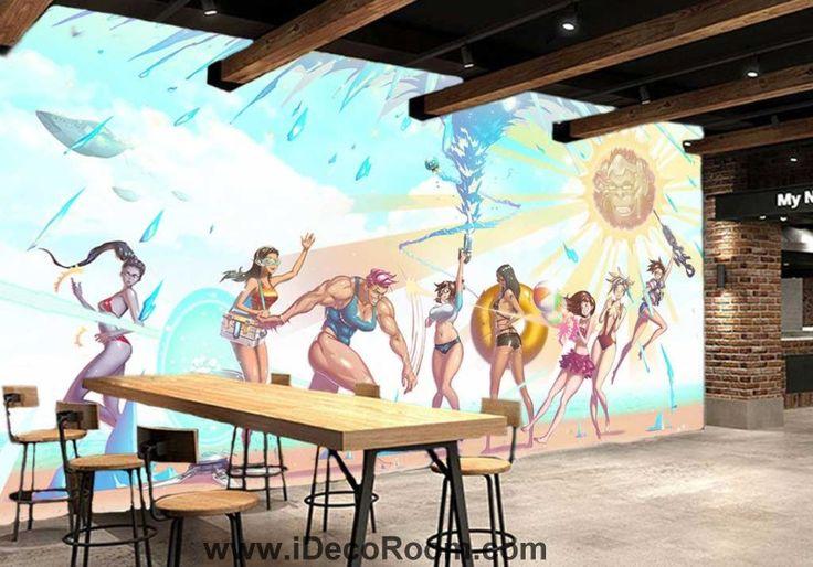3d wallpaper sexy cartoon women dancing in beach Art Wall Murals Wallpaper Decals Prints Decor IDCWP-JB-000545
