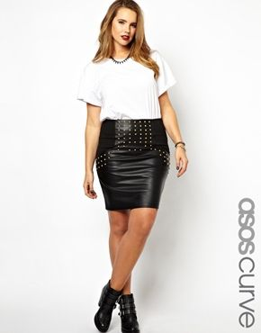 ASOS CURVE Exclusive PU Pencil Skirt With Studs
