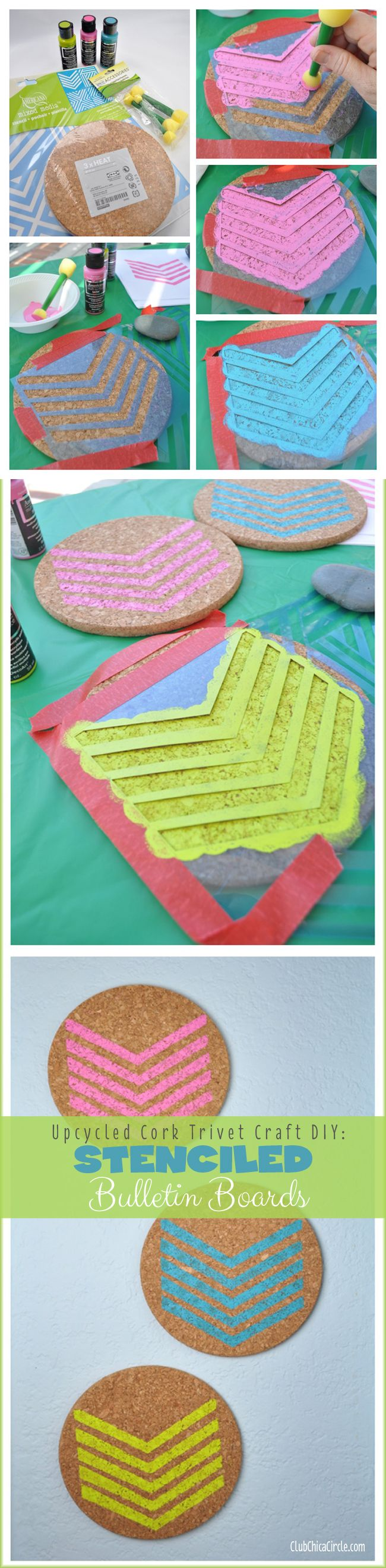 Upcycle Craft DIY- Cork Trivets into Stenciled Bulletin Boards using Americana Multi-surface Satin paint. 3-pack of IKEA cork trivets for $2, turn into cool room decor with stencils and paint. So simple!