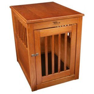 Decorative amish cratsmanship dog crate bronze dog for Amish wooden dog crates