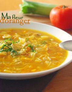 Soupe de légumes et vermicelles. + Le mois de ramadan est le mois de soupes par excellence, il n' y a pas mieux qu'une soupe pour finir une longue journée de jeun, réconfortante et légère..Parmi les innombrables variété de soupe qu'on peu préparer durant ce mois pour varier les goûts,...