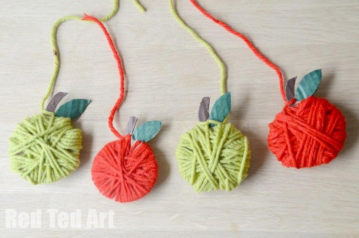 Yarn Apple Craft & Garland - Red Ted Art's Blog - great fine motor reinforcement in this fun apple theme craft. Great for September craft!