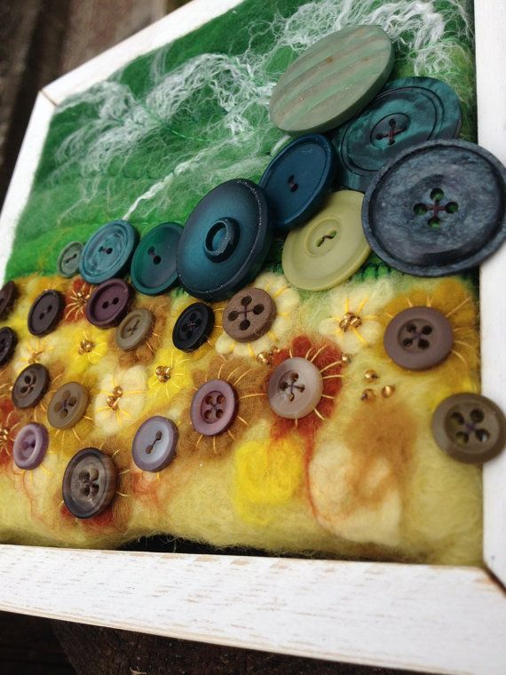Sunflower picture button art felted sunflower picture by LAtelier2