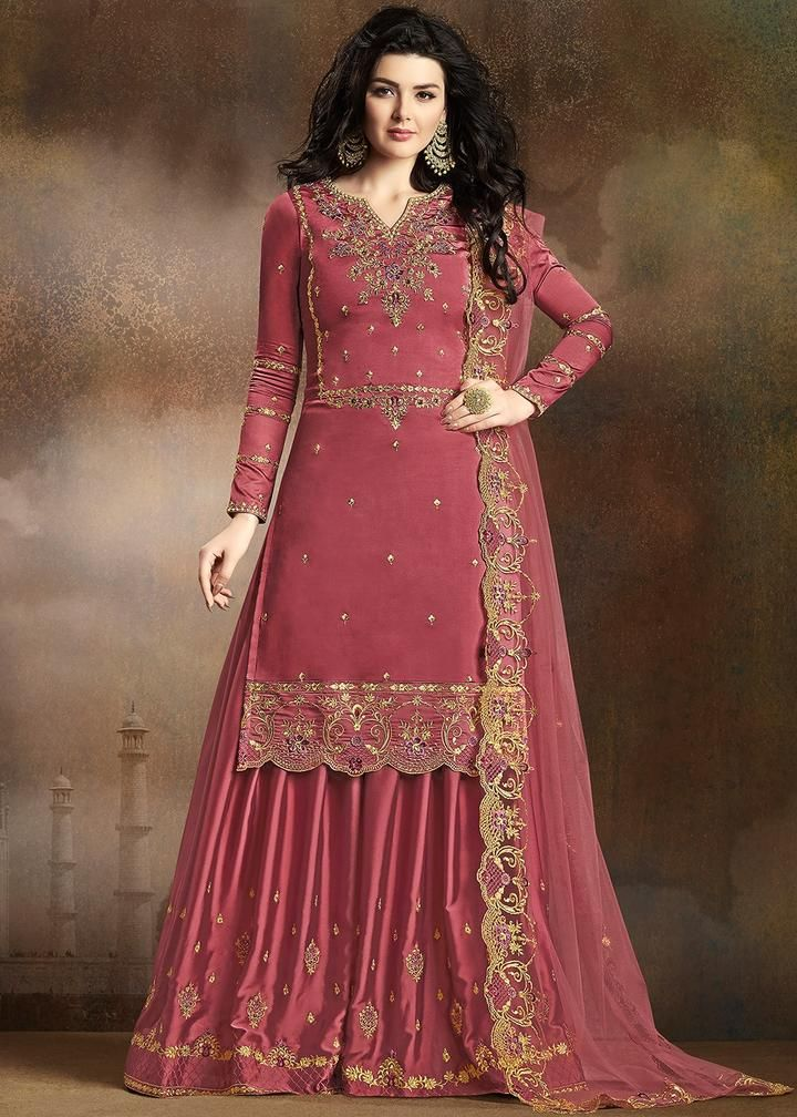 Rust Red Traditional Embroidered Indian Gharara Suit in
