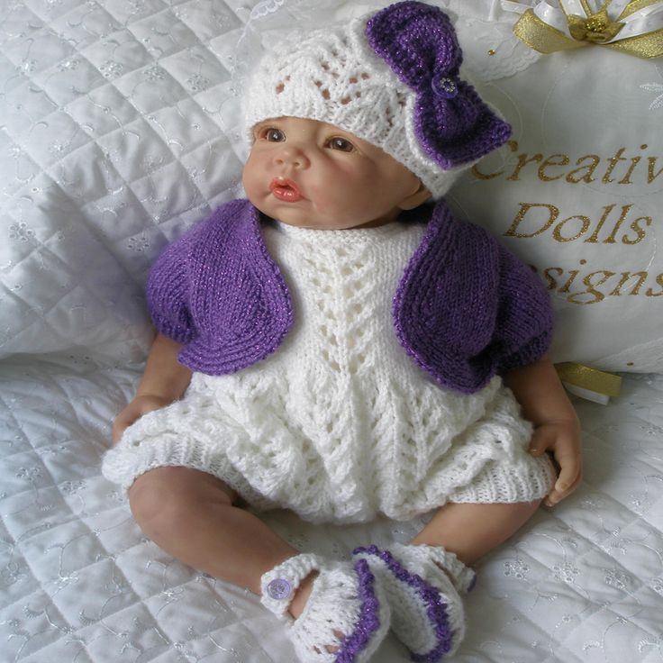 """Knitting pattern 17-22"""" Reborn Doll 0-3 Month Baby Available as PDF instant download from www.creativedollsdesigns.co.uk"""