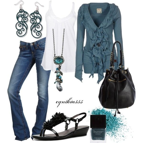 Outfit http://media-cache9.pinterest.com/upload/245235142179209597_Q0USJv9l_f.jpg jenjenpinterest my outfits: Outfits, Blue Outfit, Casual Outfit, Fashion, Style, Ruffled Cardigan, Color, Clothes