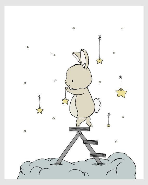 Bunny Nursery Art Bunny Hangs The Stars by SweetMelodyDesigns