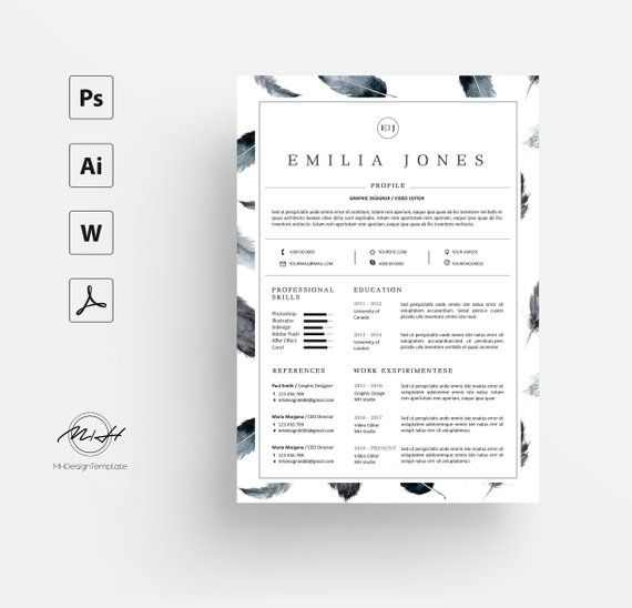 Watercolor Feather Resume Template Cv Template Free Cover Letter Free Cover Letter Resume Template Resume Template Free
