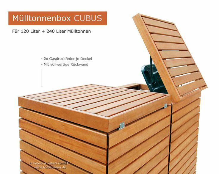 2er Müllbox für 120 Liter Mülltonnen - mit vollwertiger Rückwand und  2x Gasdruckfeder - Mülltonnenbox CUBUS - Premium-Qualität