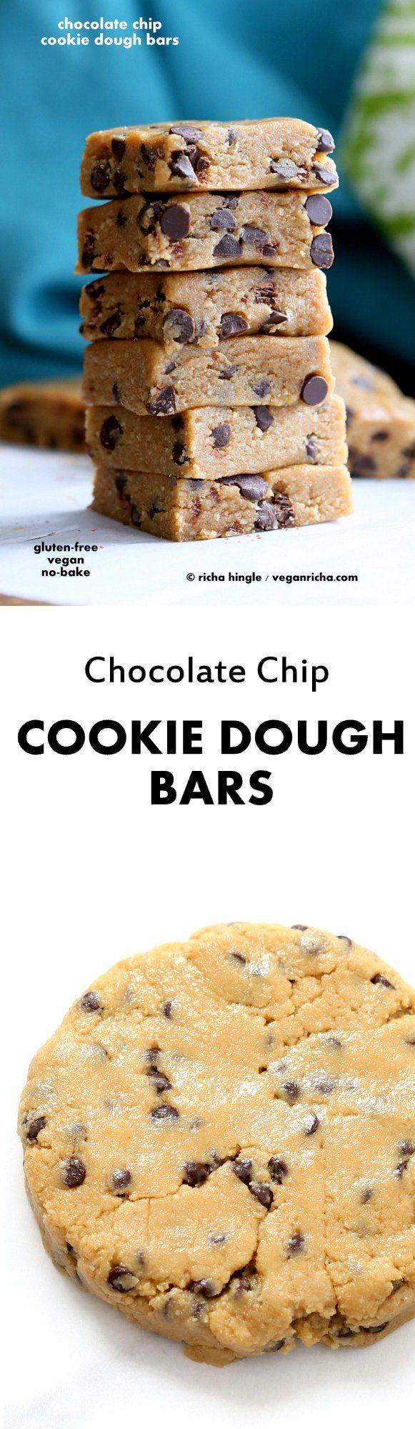 Easy Vegan Chocolate Chip Cookie Dough Bars. Gluten-free   VeganRicha.com  These babies are no-bake. If you love raw cookie dough, these should be pretty incredible.