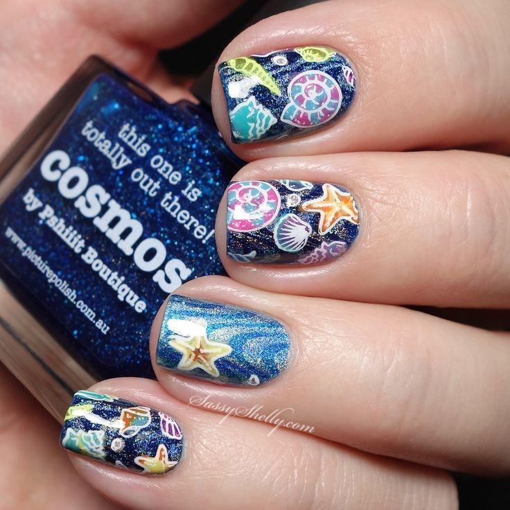 """""""Under the Sea"""" Ocean nail art with piCture pOlish Cosmos and MoYou stamping  