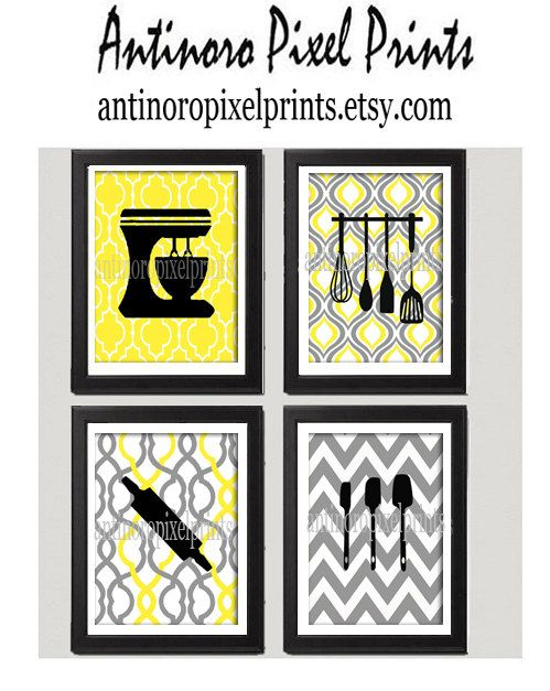 Yellow Grey Unframed Kitchen Utensil Tool Art Collection  -Set of (4) - 8x10 Prints Custom Colors and sizes Available on Etsy, $45.00