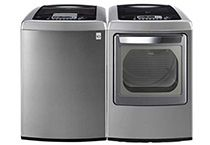 Topload Washer and GAS Dryer Stainless Steel