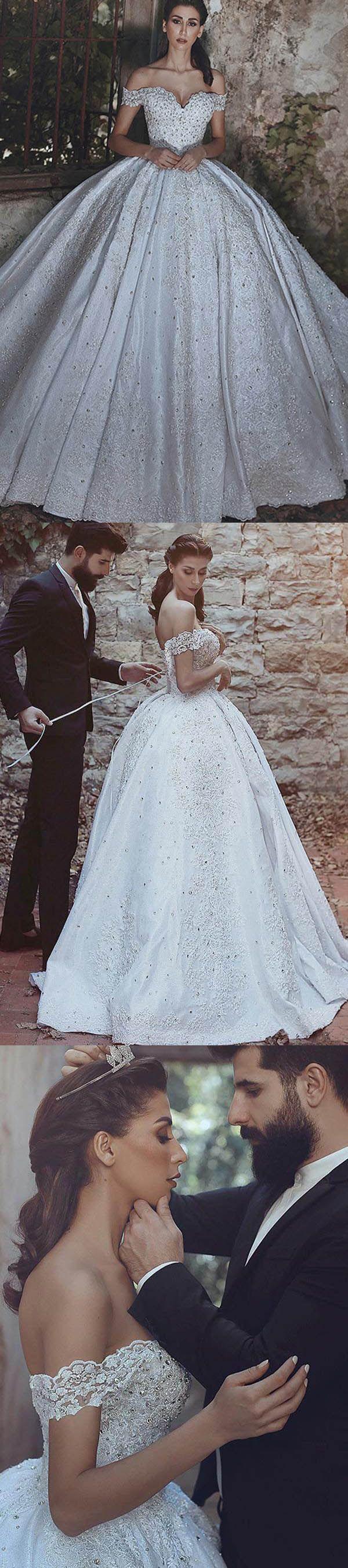 Ball Gown Off-the-Shoulder Court Train Ivory Satin Wedding Dress WD204 #weddings #wedding #dress