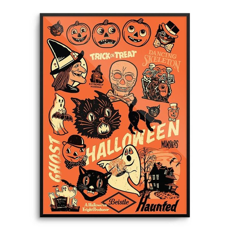 beistle vintage 50s 60s halloween decoration poster print witch mondo rare - Antique Halloween Decorations