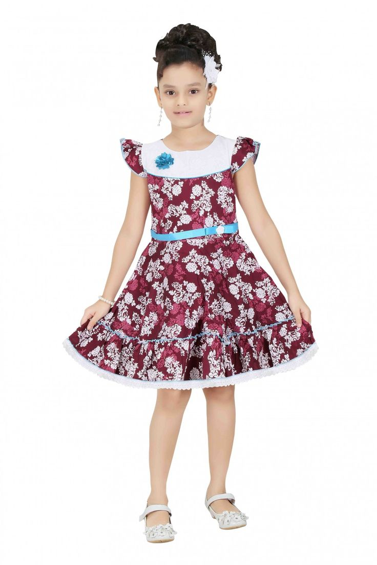 Cotton Party Wear Frocks in Maroon Colour...
