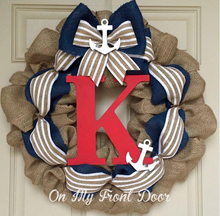 Nautical burlap anchor wreath by OnMyFrontDoor on Etsy https://www.etsy.com/listing/230006802/nautical-burlap-anchor-wreath