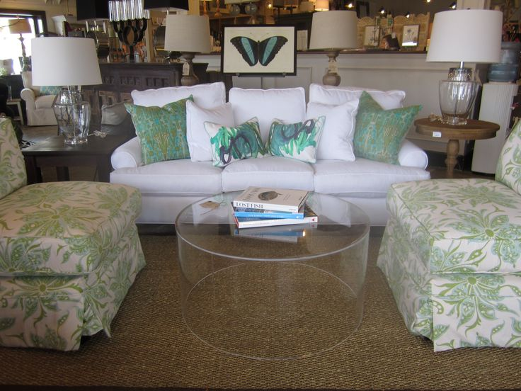 Charming Rounded Lucite Coffee Table With Homemade Fabric Slipcover Sofas  Set In Modern Living Room Ideas