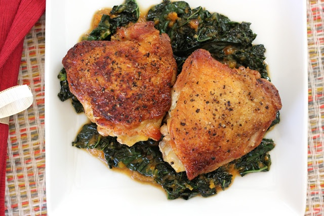 Crispy chicken thighs w kale. | Yummy for my Tummy | Pinterest