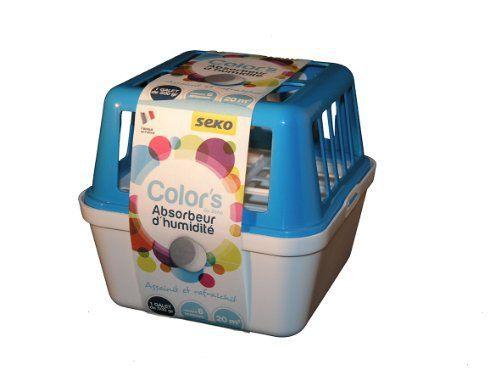 Seko COLOR'S MEDIUM Absorbeur d'humidité + 1 Recharge Galet de 500 g: Assainit l'air des pièces et évite le décollement du papier peint, il…