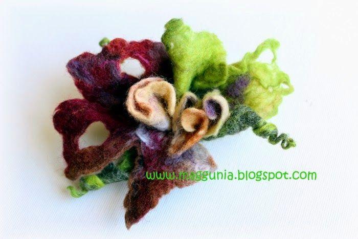 BROSZKA filc filcowa kwiat bordowy zielony brązowy (5005382478) - Allegro.pl - Więcej niż aukcje.