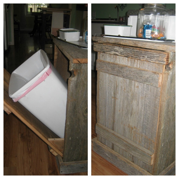 Trash Can Holder Made From Reclaimed Barn Lumber