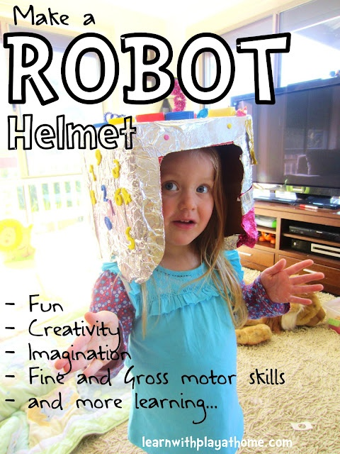 Make a robot helmet with a little fun, creativity, imagination, fine and gross motor skills... #robot #helmet #fun #crafts #kids #baby #babysdream