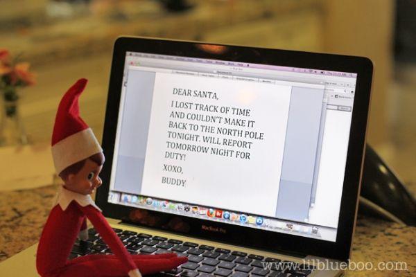 In case you forget- Emailing Santa - Elf on a Shelf - courtesy of; lilblueboo.com - #Christmas #Elf on a Shelf