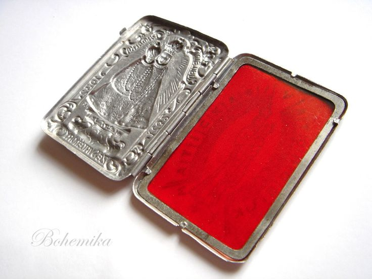 ANTIQUE ART NOUVEAU VIRGIN MARY CHILD CASE BOX RELICS ICON SILVER TONE RELIQUARY