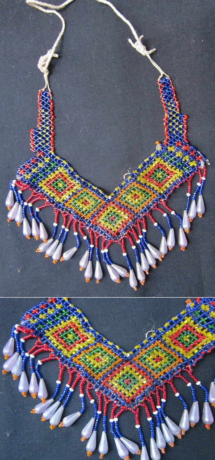 'Gerdanlık' (necklace, to be worn close to the neck).  Part of the traditional festive woman's costume from Nebiköy (15 km NE of Tokat city).  Beadwork, mid-20th century, bought from the village in 1989.  (Kavak Folklor Ekibi & Costume Collection-Antwerpen/Belgium).