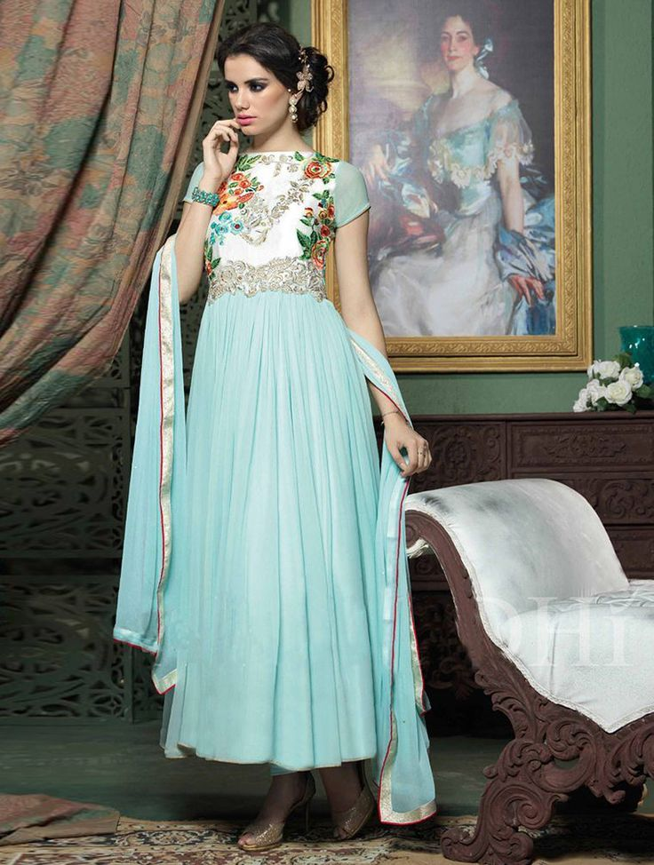 Add a vibrant burst of color to your wardrobe with this sky blue and white designer salwar kameez. #Shopnow
