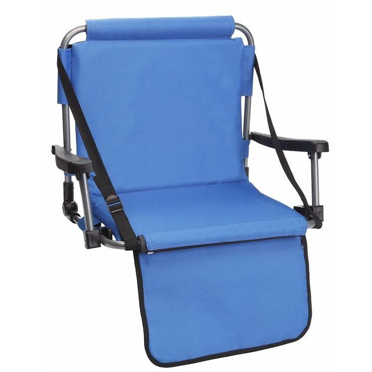 Blue Stadium Bleacher Chair W/ Armrest & Padded Back by Barton Outdoors #BARTONOUTDOORS