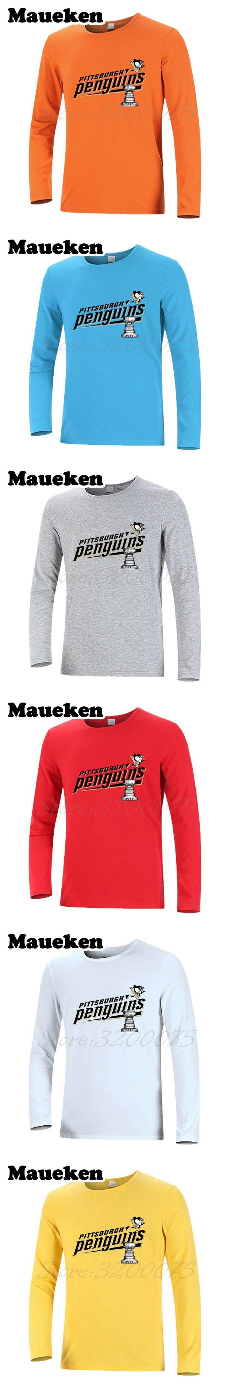 New Autumn Winter PITTSBURGH 2016 STANLEY CUP CHAMPIONS Men T-Shirt Long Sleeve T SHIRT Men's PENGUINS Championship W0901009