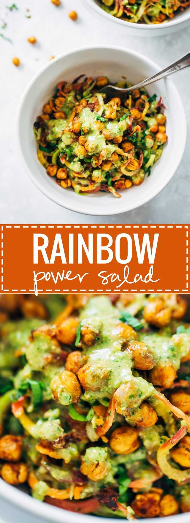 Color! Texture! Beautiful food in a bowl! There's so much good going on here, guys. The carrots and zucchini get all ribboned up into shreds, and the chickpeas get roasted with a little spice, and jus