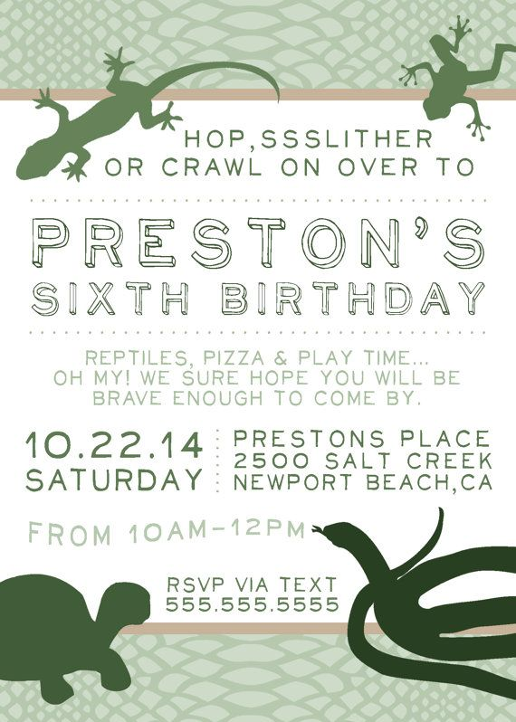 Reptile Party invite Snake party Reptiles by aprettylittleparty