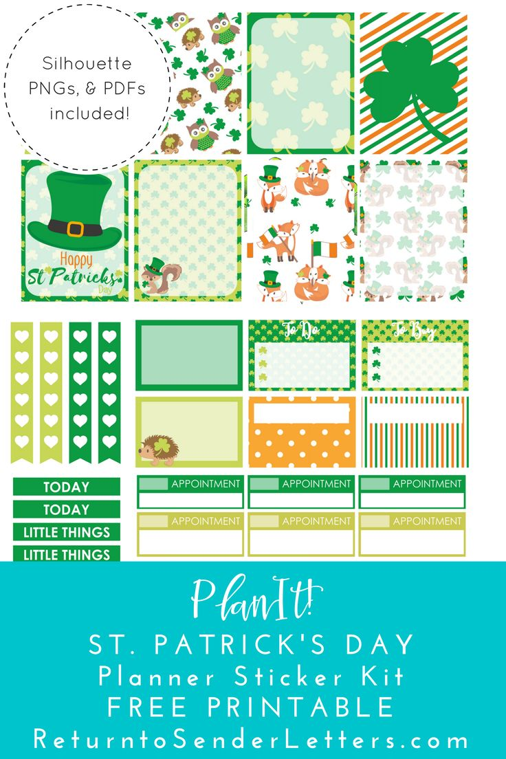Free Printable St. Patrick's Day Planner Sticker Kit. Includes PDFs, PNGs, and .studio3 files! from Return to Sender Letters