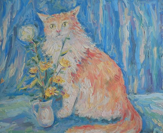 Red Cat and Field Flower in Vase Oil Painting by FrozenLife