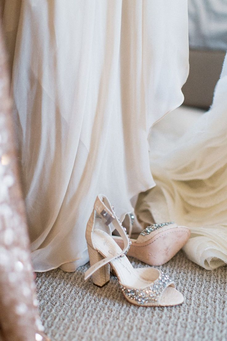 Jeweled sandals with chunky heel to wear with wedding dress | bridal attire.